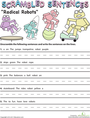 Scrambled Sentences: Radical Robots