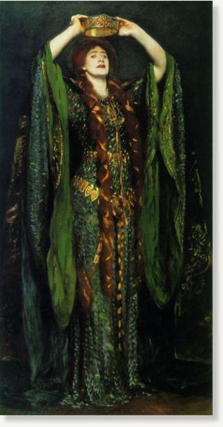 "Ellen Terry wore this ""beetle wing"" dress for an 1888 performance of 'Macbeth' at the Lyceum Theatre. The dress, designed by Alice Comyns Carr, is adorned with real wings shed naturally by the jewel beetle of Southeast Asia. Carr, who worked closely with Terry on her costumes, wrote that the dress should look ""like soft chain armour… [and] give the appearance of the scales of a serpent"". John Singer Sargent's 1889 painting"