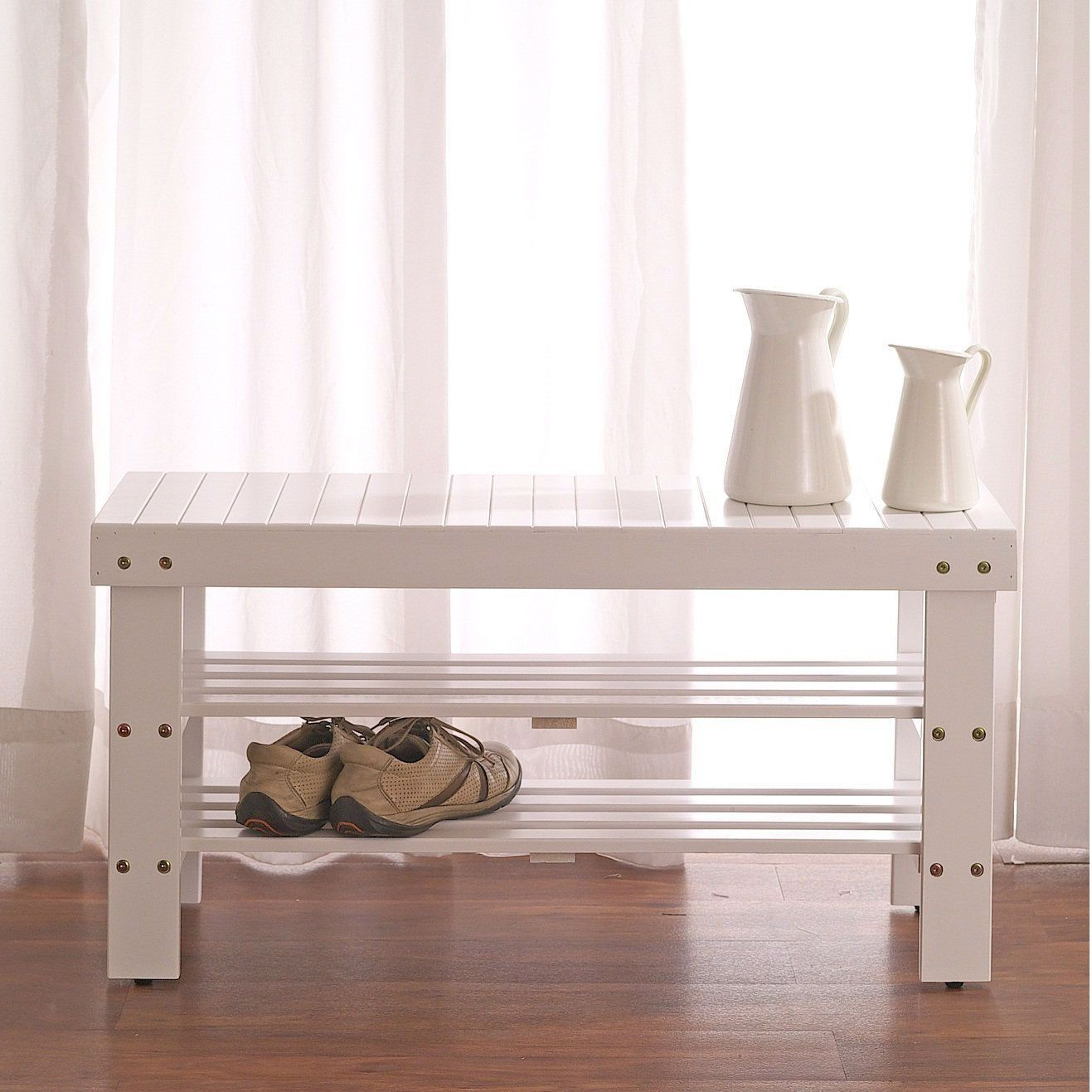 Solid Wood Shoe Rack Entryway Storage Bench in White | Cosas ...