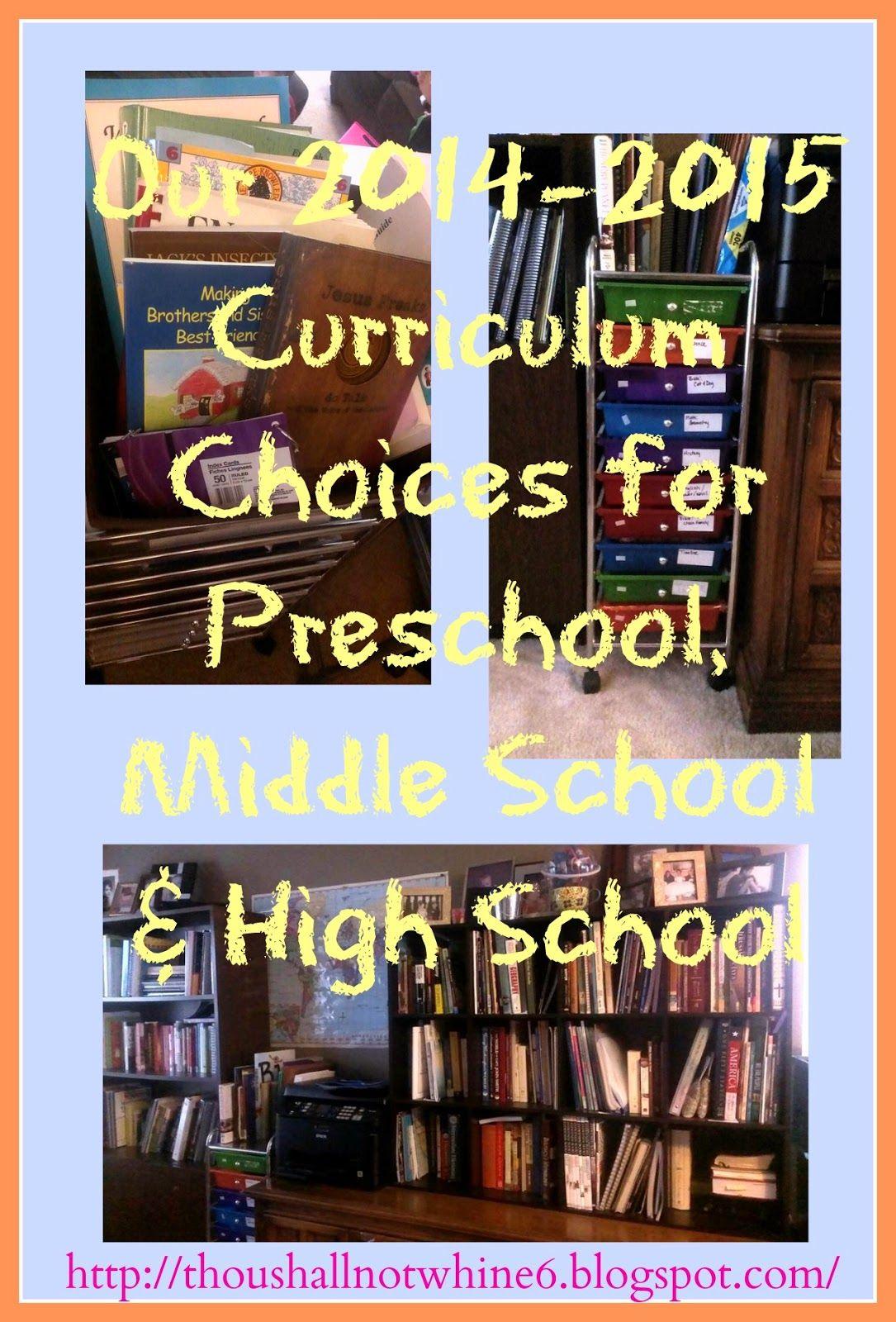 Homeschool Curriculum Choices Preschool Middle