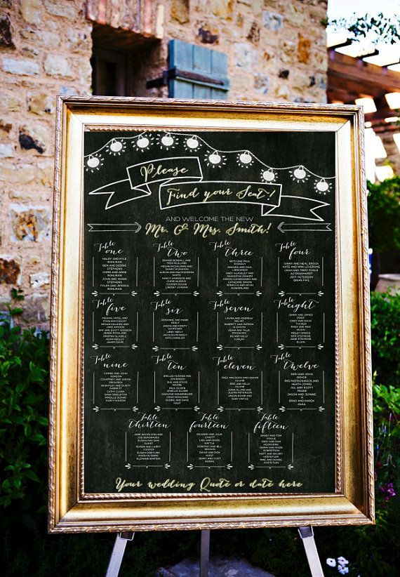 Chalkboard Wedding Table Assignments Board Table By LCOonEtsy