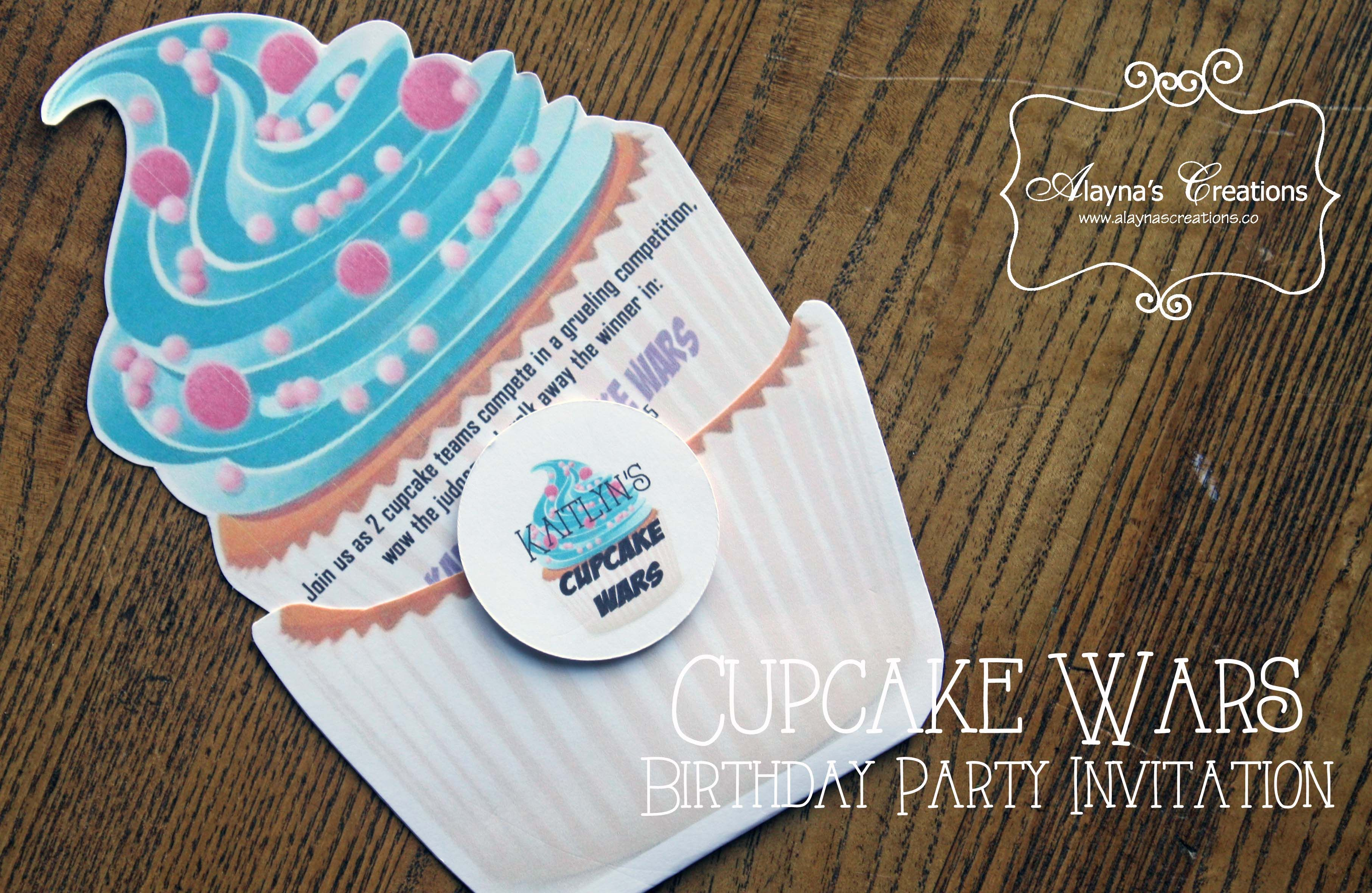 Cupcake Wars Birthday Party Invitation Cupcake Themed