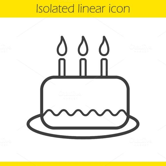 Birthday Cake Linear Icon Vector Creativework247 Icons Icons