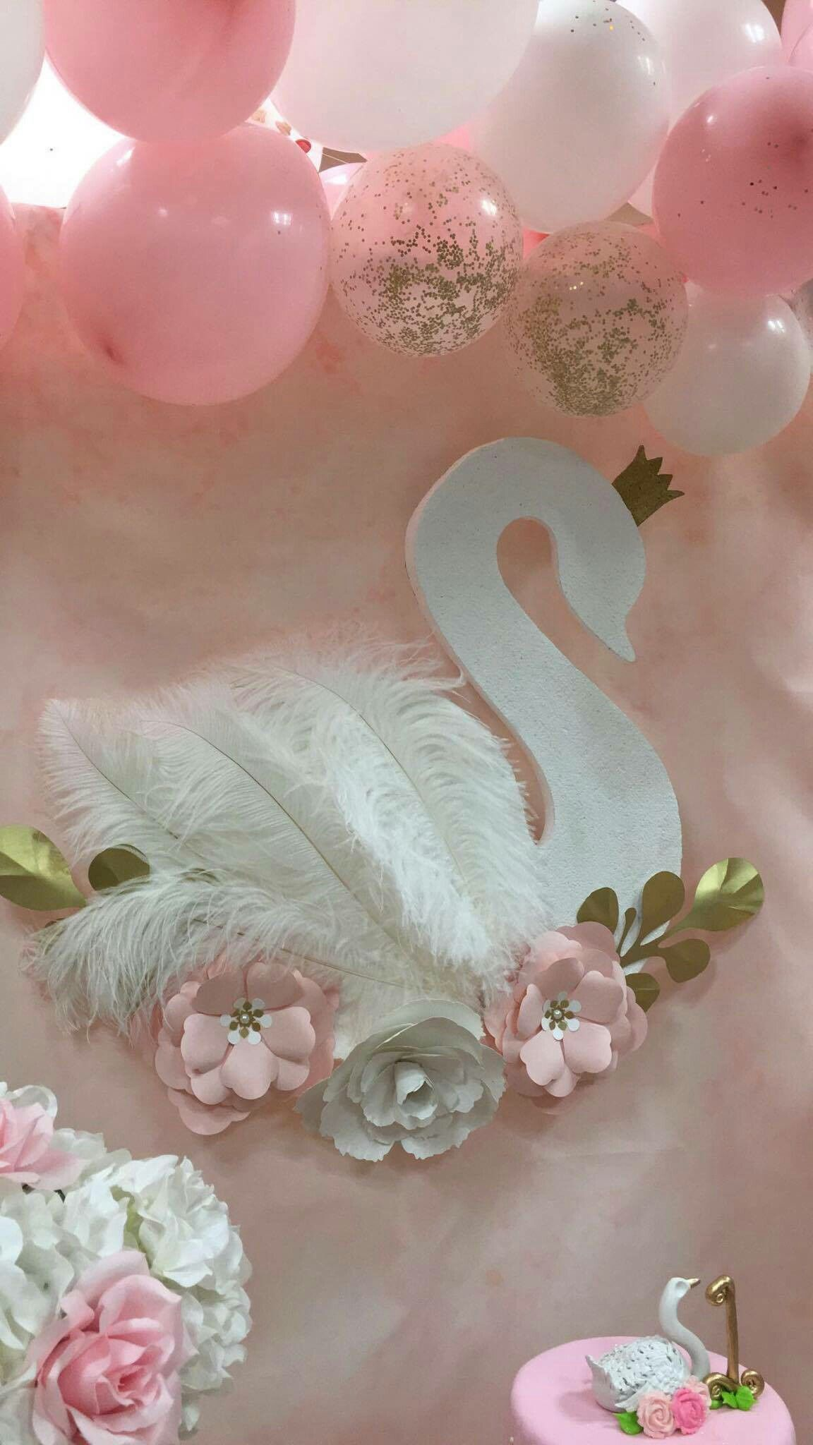 Swan Backdrop Made Out Of Styrofoam Painted Pearl White