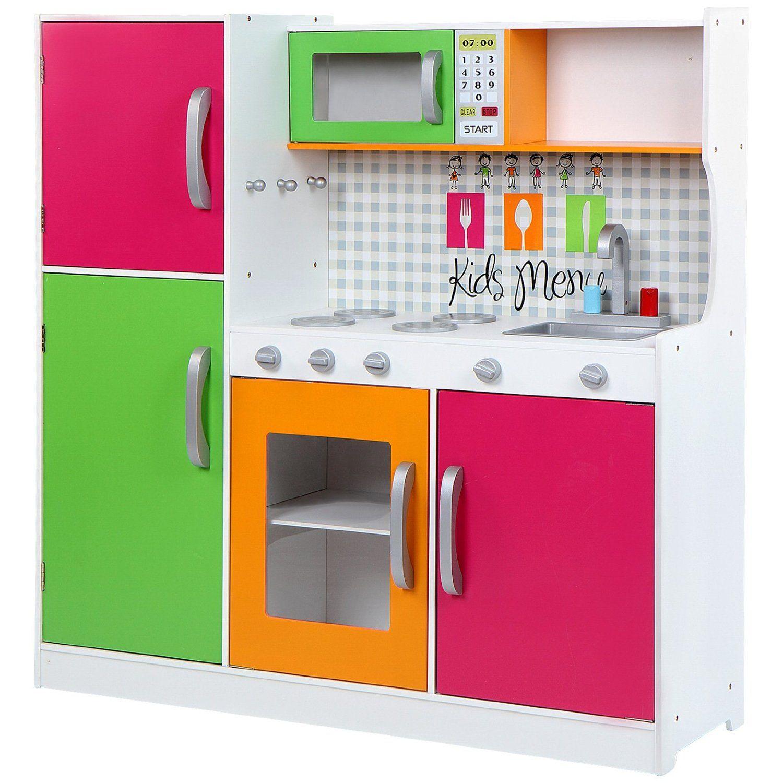 Infantastic - Cocina de juguete con 4 fuegos, horno, frigorífico y ...