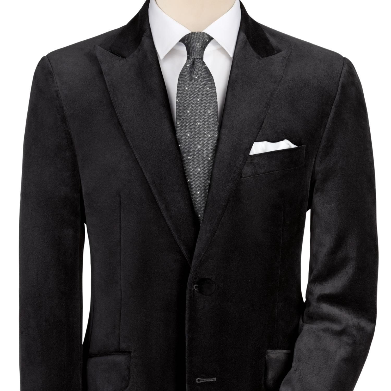 Black velvet slim fit jacket Men's sport coats & blazers