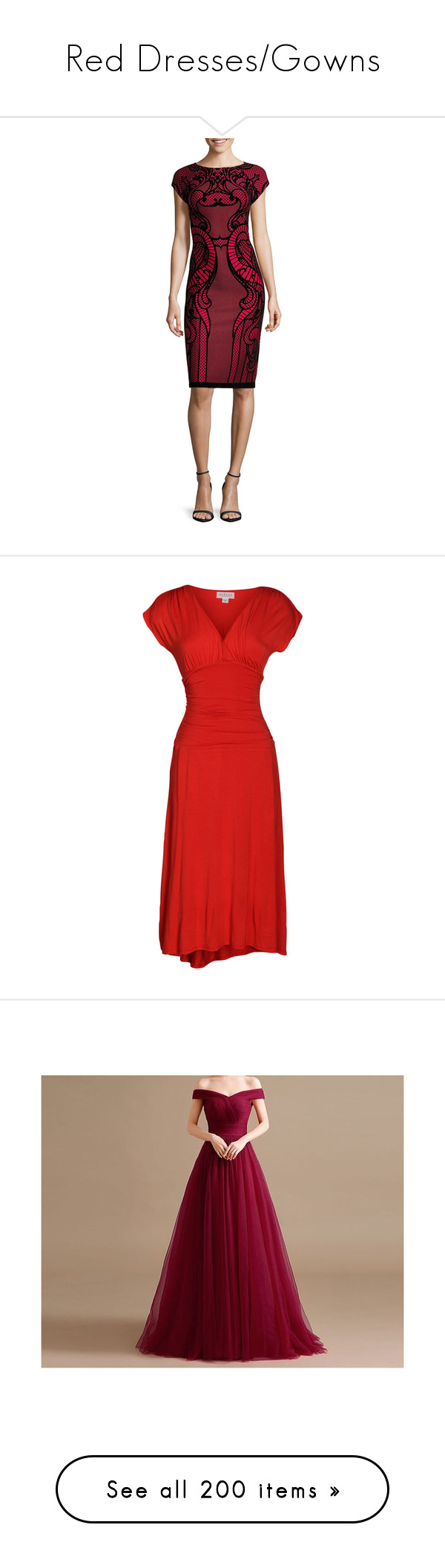 """""""Red Dresses/Gowns"""" by grungyandinbloom ❤ liked on Polyvore featuring dresses, cap sleeve evening dress, evening dresses, sheath cocktail dress, velvet evening dresses, cap sleeve cocktail dress, red, a line dress, below knee dresses and v neck ruched dress"""