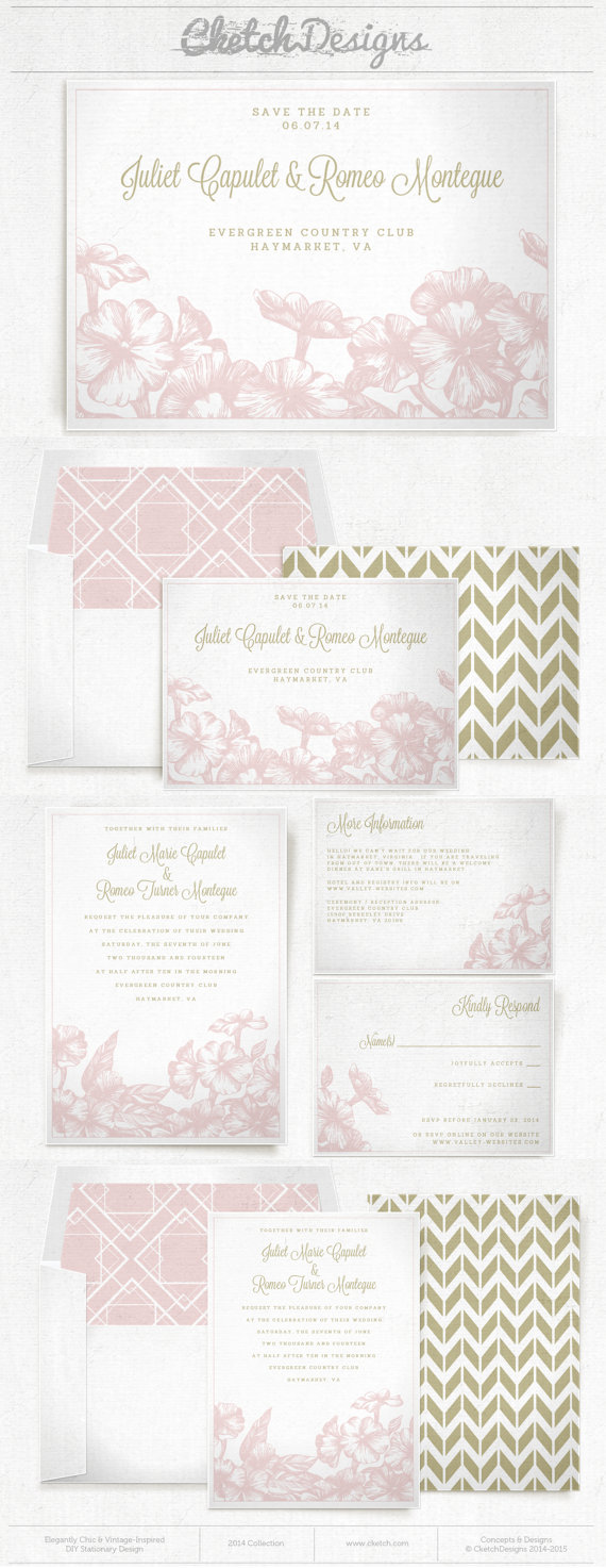 Blush and gold flower & chevron wedding invite and save the date.  $9.00 template - https://www.etsy.com/listing/178336903/diy-printable-word-template-2014-floral