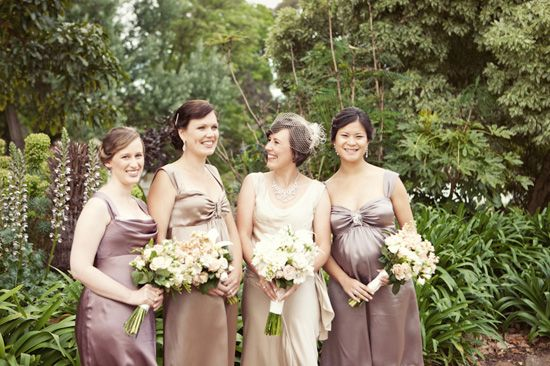 Would be cute for a fall wedding, especially with either the soft colors shown, or really bright fall colors, reds and oranges.  the dresses would be pretty even darker brown too!  Brown bridesmaids gowns