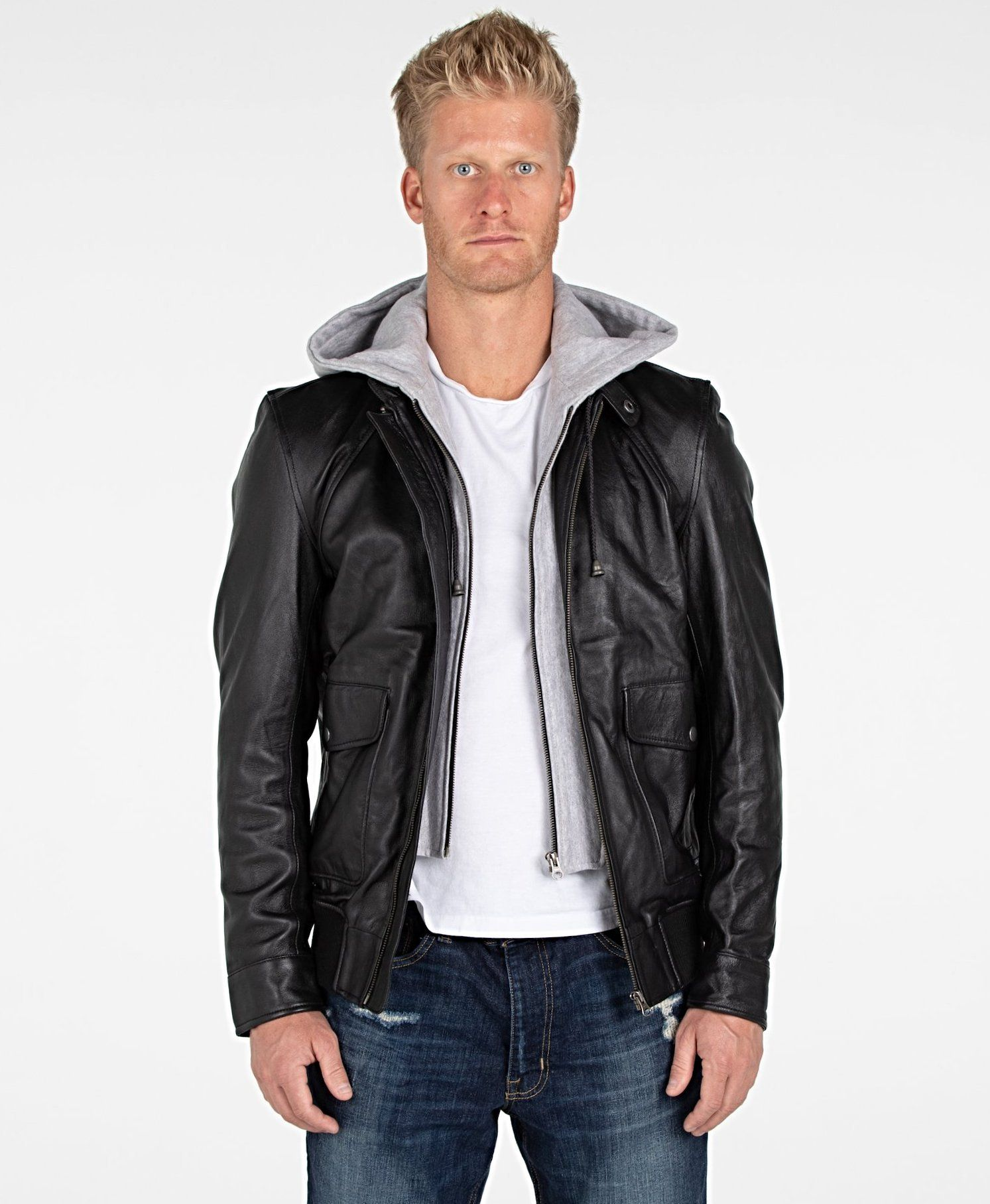 Men S Lambskin Hooded Leather Bomber Jacket Hooded Bomber Jacket Leather Jacket With Hood Leather Bomber Jacket [ 1815 x 1493 Pixel ]