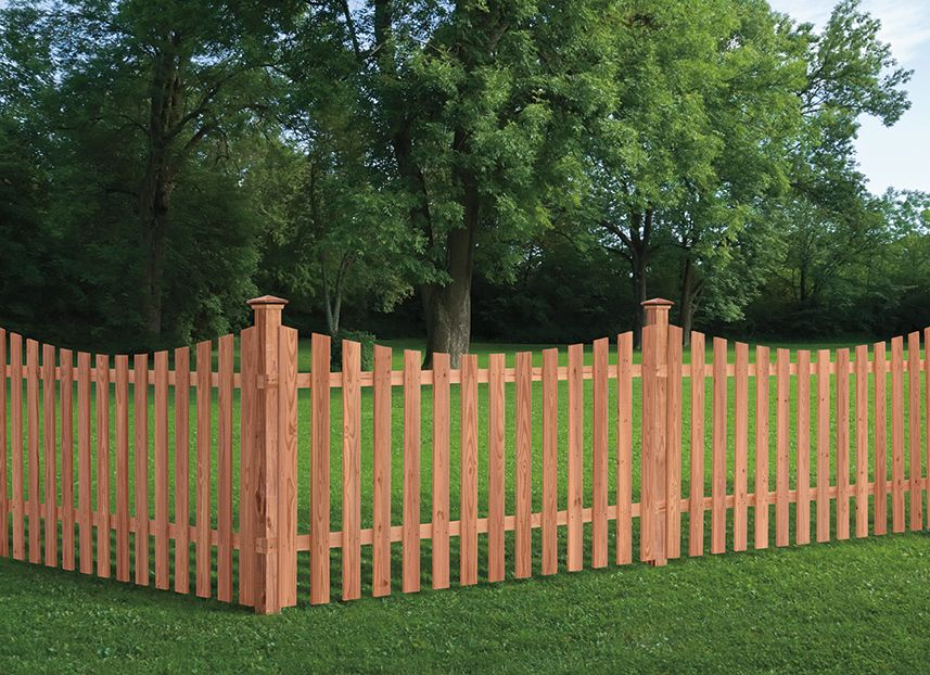 Outdoor Essentials Scallop Spaced Picket Fence Color Treated Fence Design Backyard Fences Outdoor Essentials