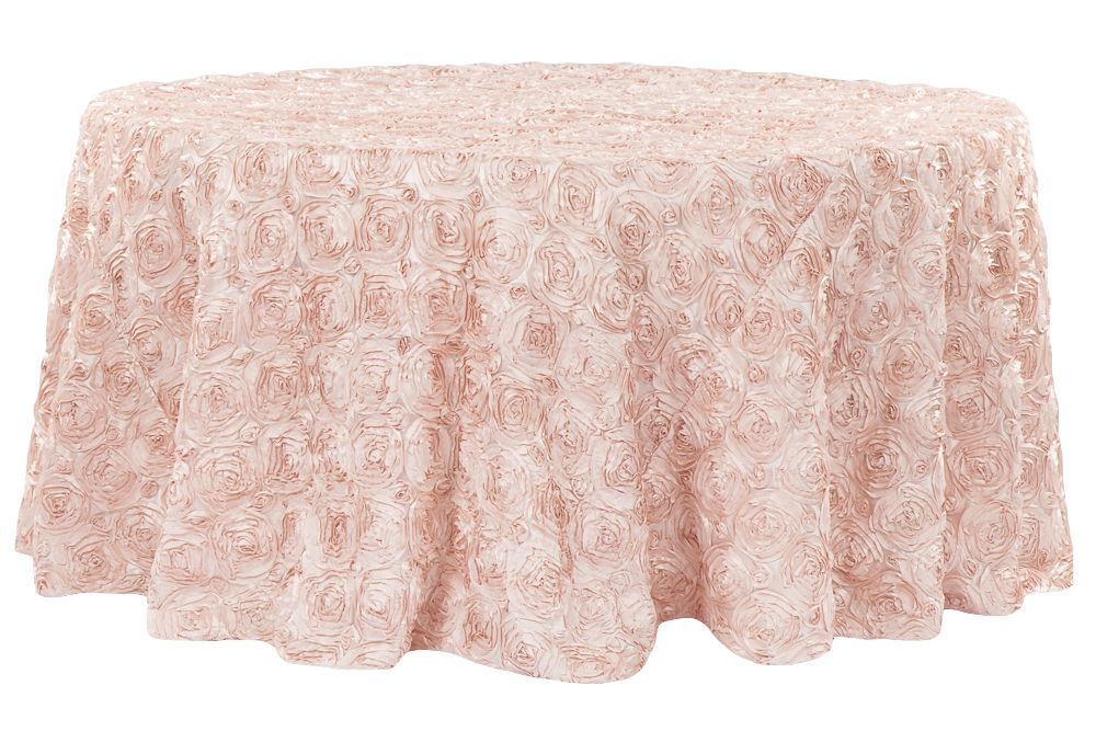 Wedding Rosette Satin 120 Round Tablecloth Blush Rose Gold