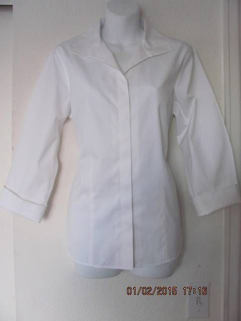 Chicos No Iron Cotton White Fitted Shirt Blouse 3 4 Sleeves Size 1
