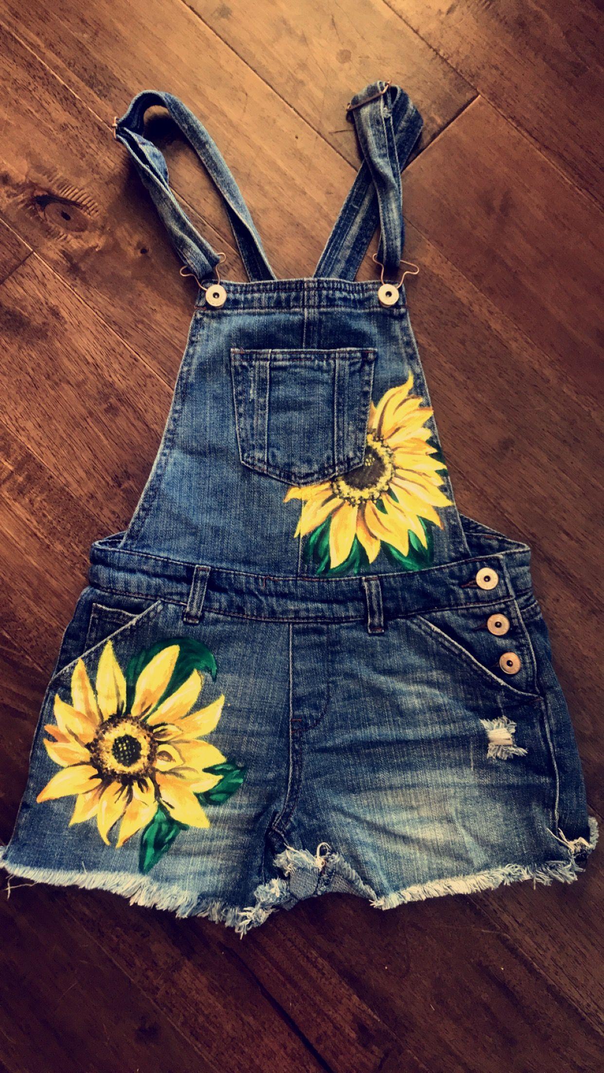 Karamaxwellart Hand Painted Sunflowers on Denim Overalls