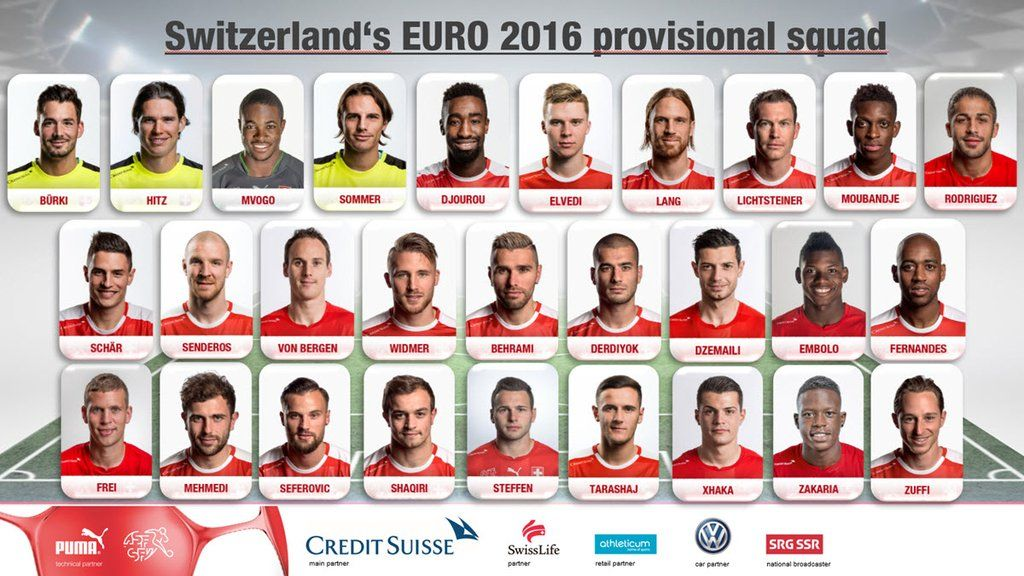 Switzerland's provisional Euro 2016 team.