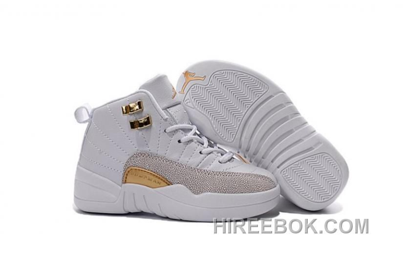 b38e079bf08a Buy 2016 Nike Air Jordan 12 XII Kids Basketball Shoes White Golden Child  Sale from Reliable 2016 Nike Air Jordan 12 XII Kids Basketball Shoes White  Golden ...