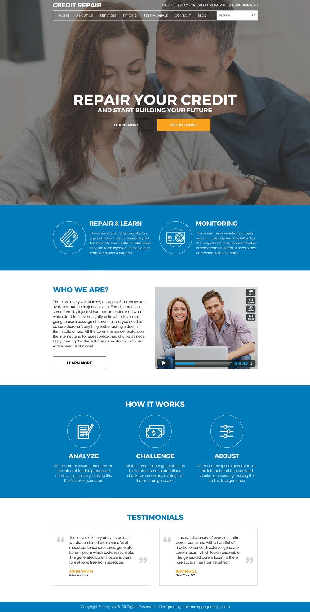 Repair Your Credit And Start Building Your Future Professional - Credit repair website template