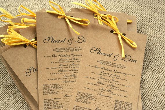 Long Rustic Wedding Program Recycled Paper By Sofiainvitations 50 00