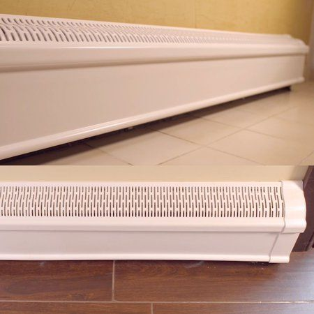 Baseboard Heat Covers Complete Set 8 Feet White Includes Right And Left End Caps Hot Water Hydronic Heater Baseboard Cover Enclosure Replacement Kit For