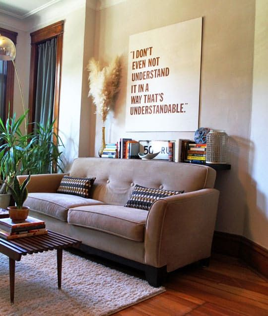 What To Do With That Small Awkward Gap Behind The Sofa Modern Apartment Home Apartment Sofa