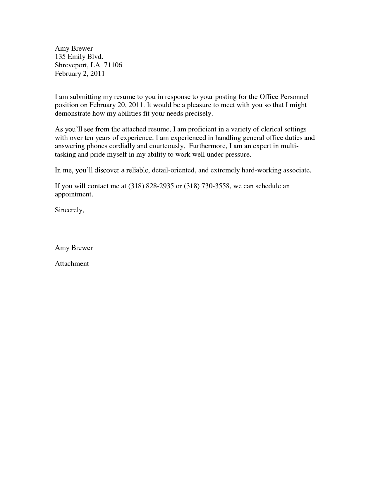 letter regarding application pertaining to some assistant position