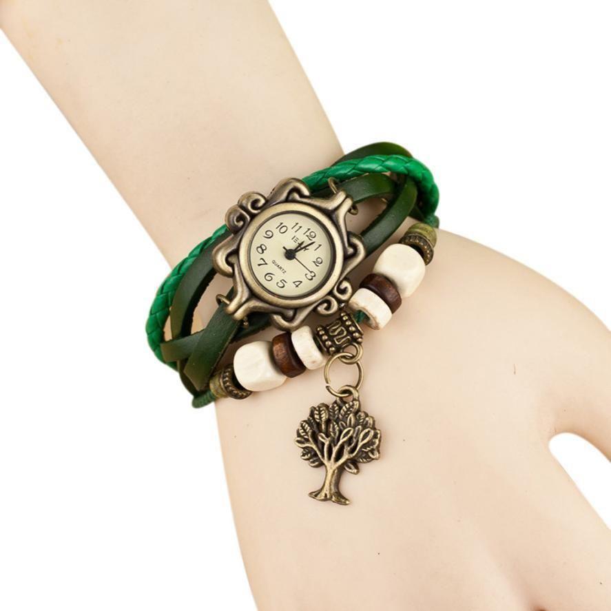 Vintage Leather Quartz Bracelet Watch