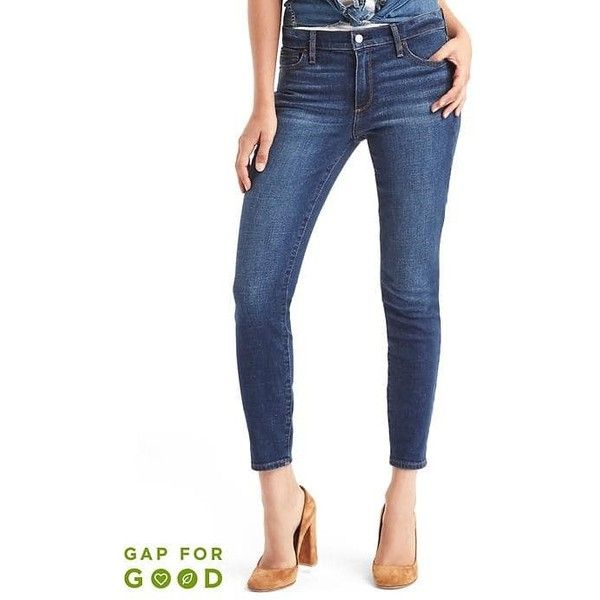 Gap Women Washwell Mid Rise True Skinny Ankle Jeans ($56) ❤ liked on Polyvore featuring jeans, darkest indigo, tall, white super skinny jeans, stretchy skinny jeans, faded skinny jeans, mid rise skinny jeans and white denim jeans
