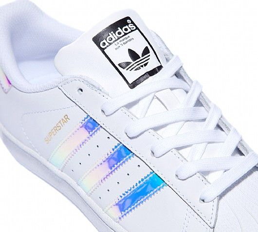 adidas Originals Junior Superstar Iridescent Trainers in White and Silver.