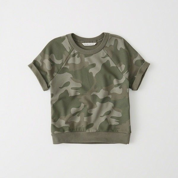 d158e6f752d Abercrombie & Fitch Short-Sleeve Printed Sweatshirt ($48) ❤ liked on  Polyvore featuring tops, hoodies, sweatshirts, camo, short sleeve sweatshirt,  camo ...