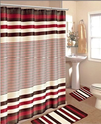 15pc Burgundy Brown Stripe Bathroom Bath Mats Set Rug Carpet