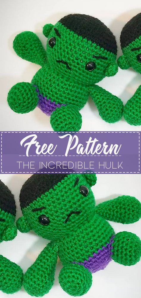 Incredible Hulk is my toy of the day. 😊💪👻💚 Crochet pattern is ... | 997x474