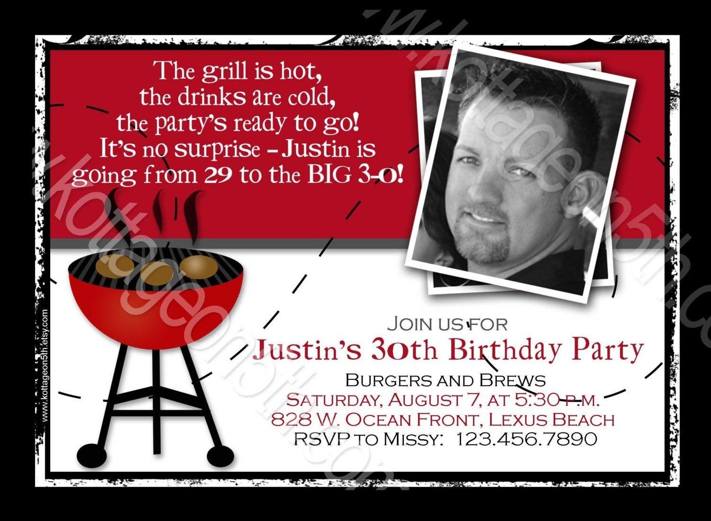 40th+Birthday+Invitations+For+Men | Burgers N Brews - BBQ Birthday ...