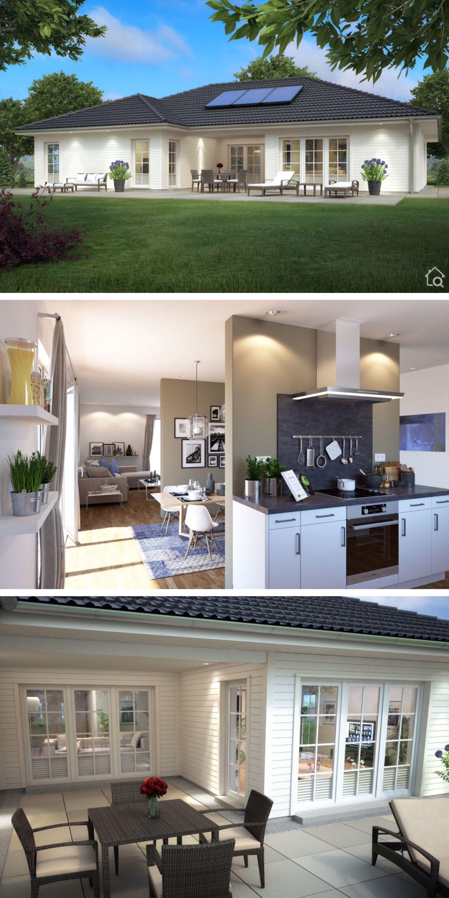 Moderner Landhaus Bungalow mit Holz Fassade & Walmdach