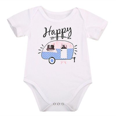 18892085dc6b Click to Buy << Short Sleeve Newborn Infant Baby Girl Boy Cartoon Romper  Clothes Kids White Cotton Happy Car Print Jumpsuit Outfits Rompers  #Affiliate