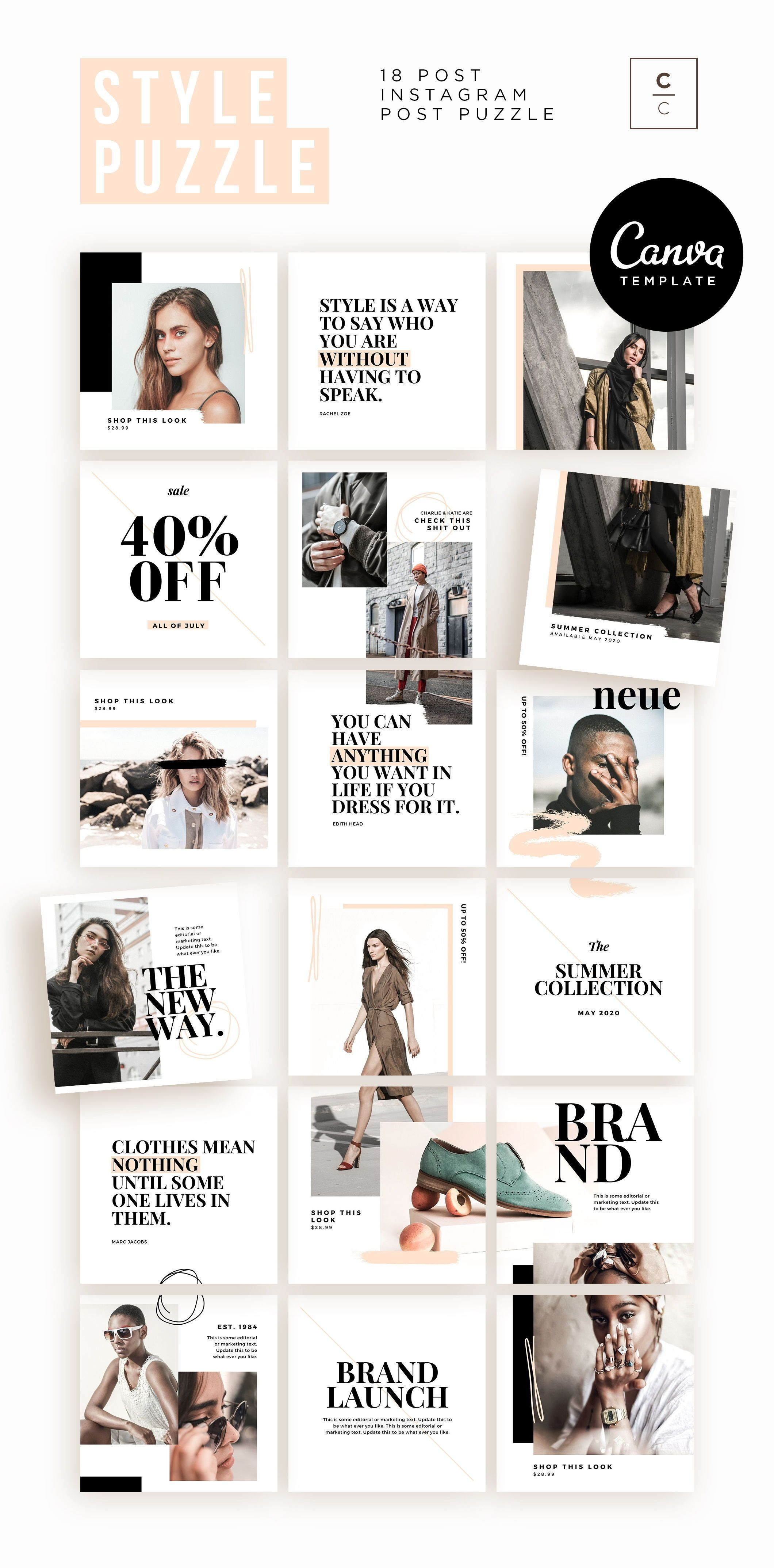 Fashion Instagram Puzzle Template for Canva Instagram   Etsy ...