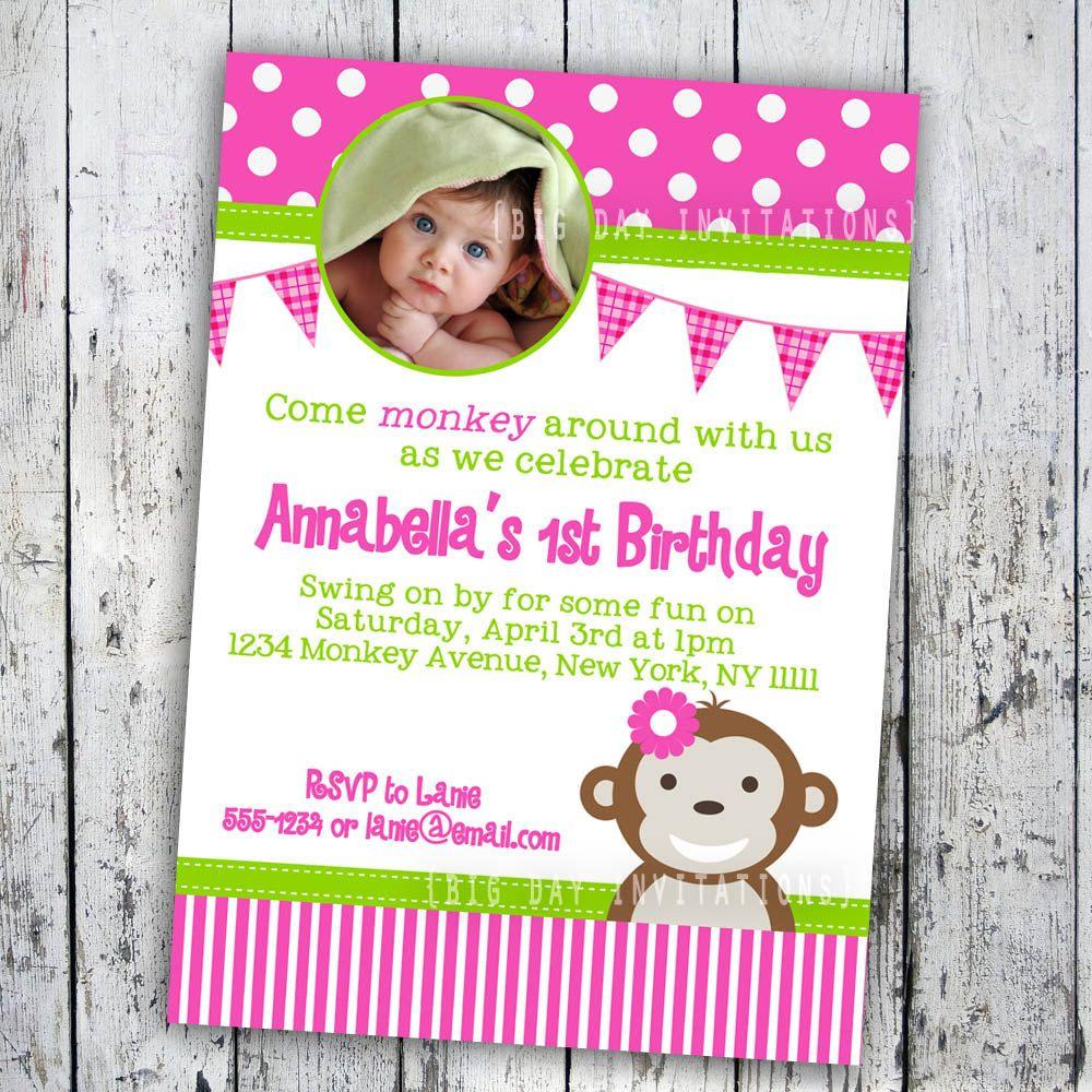 1st birthday girl monkey mod monkey birthday invitation 1st 1st birthday girl monkey mod monkey birthday invitation 1st birthday photo party invitation filmwisefo