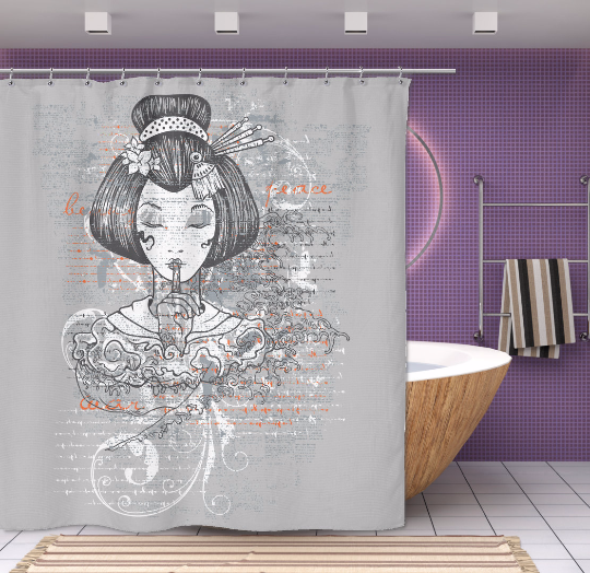 Silent Geisha Japanese Shower Curtain From Products NuKrypton Tees Nktees