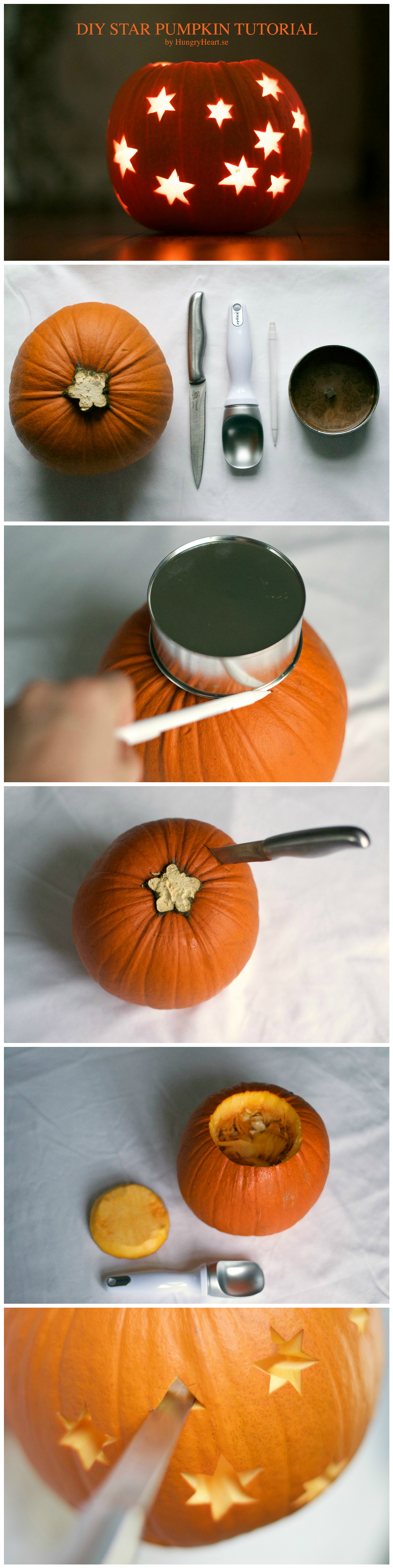 DIY Star Pumpkin Lantern Step-by-Step Tutorial | HungryHeart.se