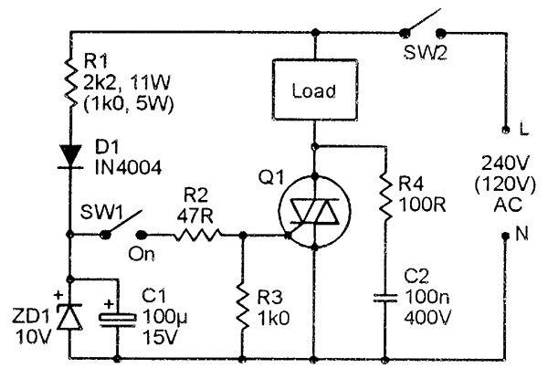 Triacasic AC lamp dimmer with RFI suppression via C1-L1