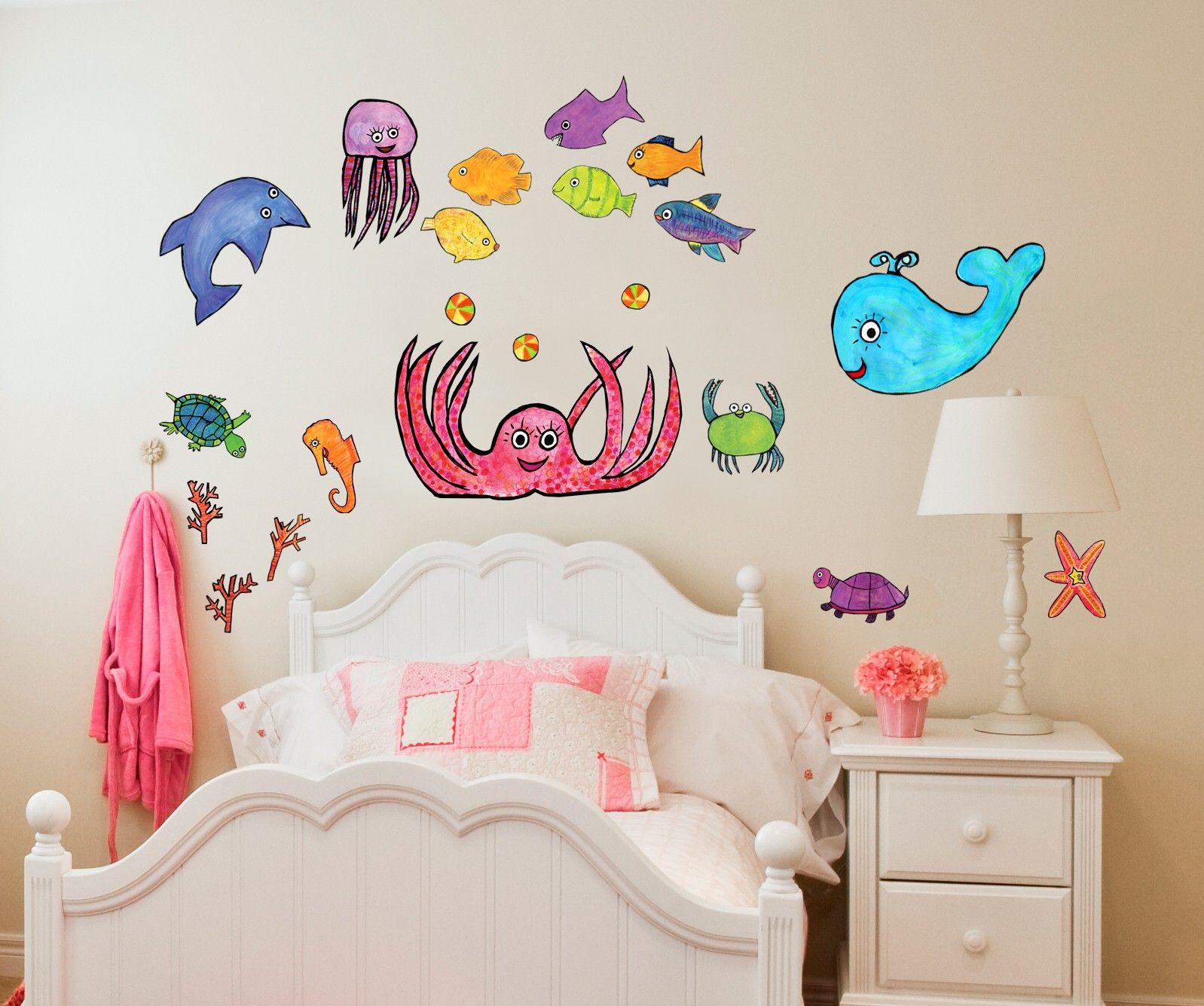 Splish Splash Girl Wall Decal Set For Kids By Emily Green For Oopsy Daisy Fine Art For Kids Baby Wall Art Girls Wall Decals Kids Wall Decals
