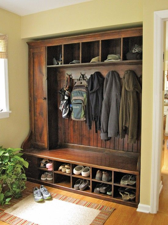Built In Bench And Coat Rack Might Change The Shoe Slots To Storage