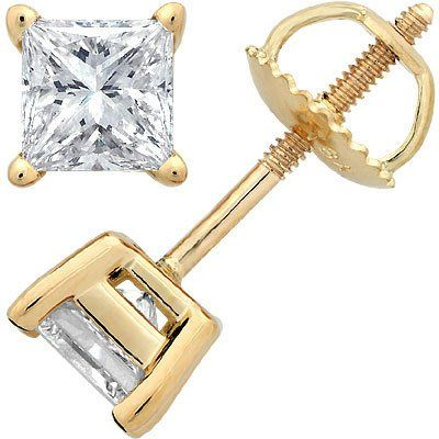 141590787 Diamond Earrings Design | 12 Carat 14K Yellow Gold Solitaire Diamond Stud  Earrings Princess Cut 4 Prong Screw Back JK Color I2 Clarity >>> Learn more  by ...