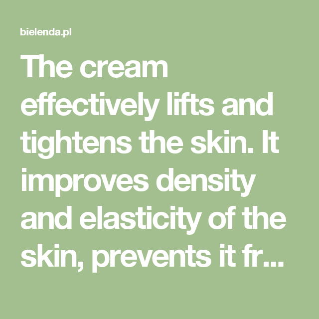 The cream effectively lifts and tightens the skin. It improves density and elasticity of the skin, prevents it from sagging and slows down aging processes. Smooths fixed wrinkles on the face and around the eyes, and effectively prevents formation of new ones. Lightens discolorations, evens out skin tone, regenerates and provides long-lasting moisture. The skin becomes radiant and full of youthful glow.  Action Spectacular anti-wrinkle effects are guaranteed by intelligent active ingredients…