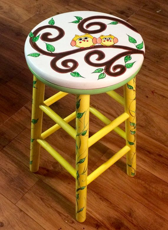 Painted Bar Stool Painted Swivel Bar Stool By Paintingbymichele