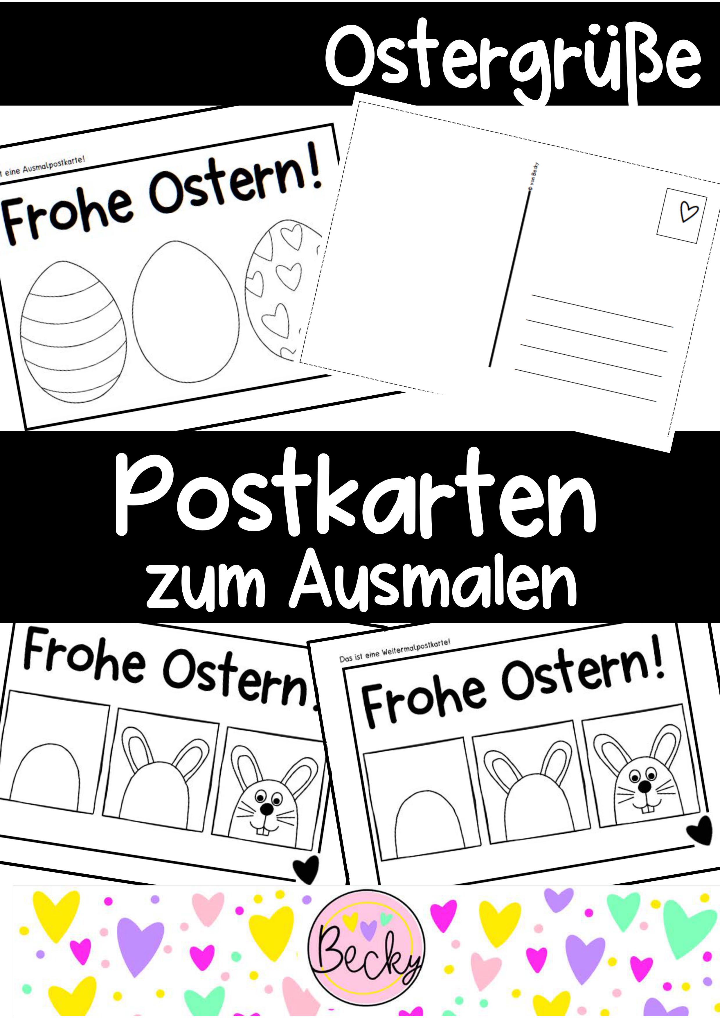Ostergrusse Postkarte Zum Ausmalen Schulschliessung Homeschooling Unterrichtsmaterial In Den Fachern Fachubergreifendes Kunst Postkarten Ausmalen Karten
