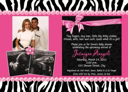 black white zebra print, hot pink, multi-photo baby shower,