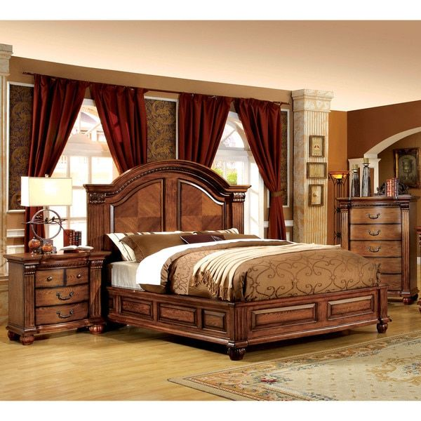 Furniture of America Traditional Style Antique Tobacco Oak Platform Bed - Furniture Of America Traditional Style Antique Tobacco Oak Platform