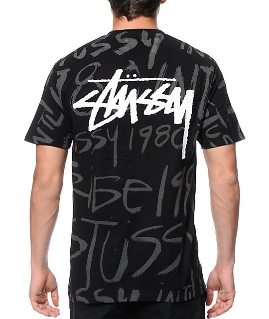 Stand out with an exclusive new style with an all-over reflective scribble  Stussy text
