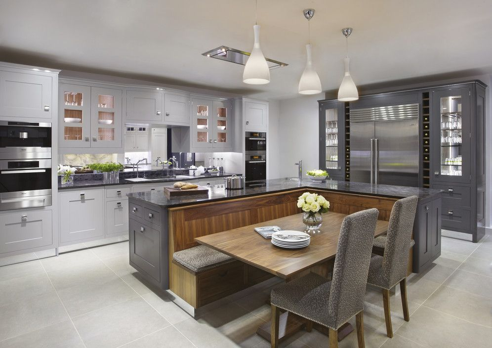 The Argento Kitchen Painted In Shades From Gunmental To Pale Grey - Pale grey kitchen paint
