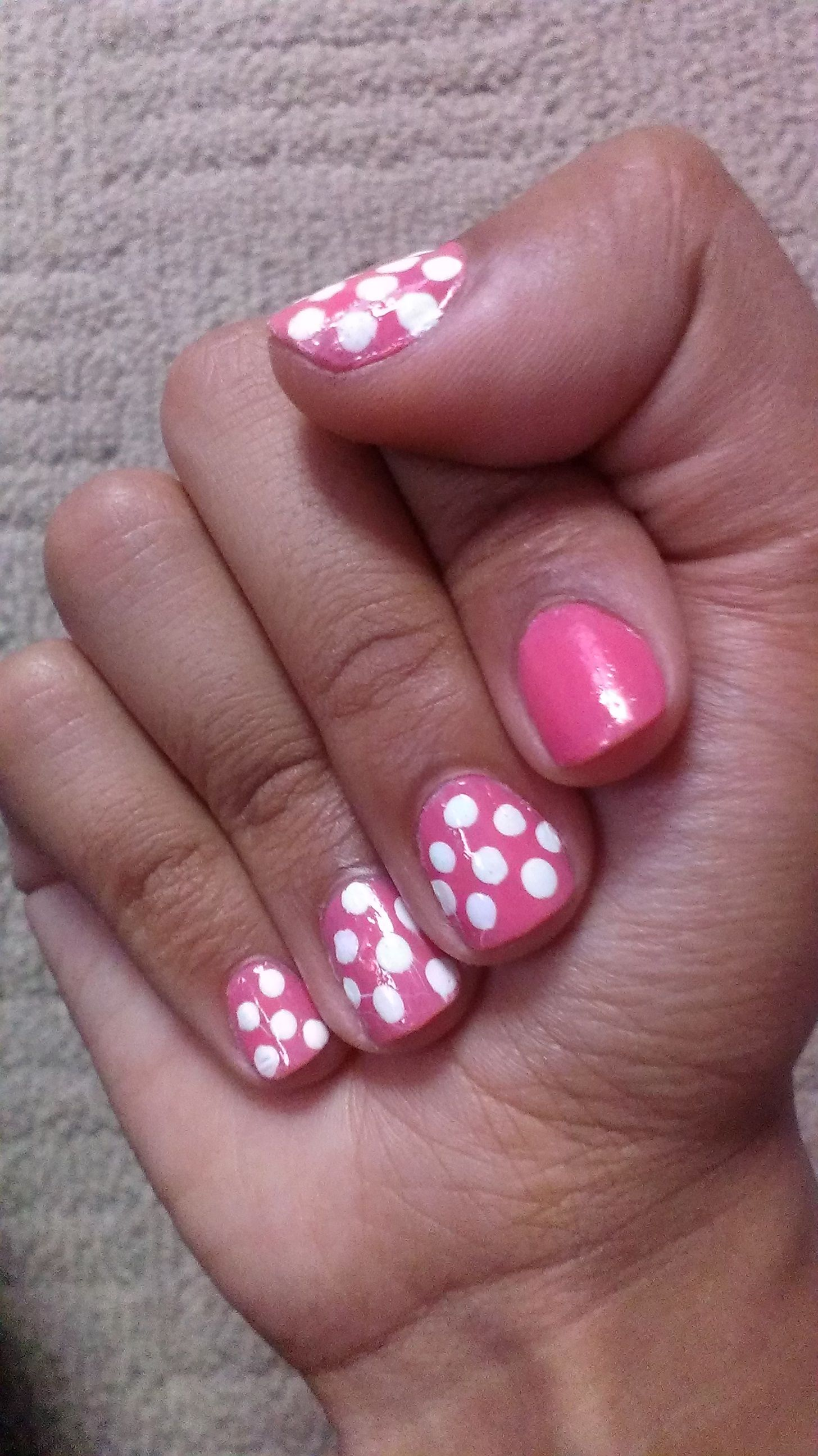 Polka dots. I used a bobby pin as a homemade dotting tool.